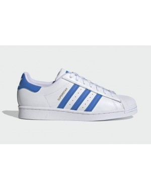 "Adidas Superstar ""Bleu"" Blanche/Bleu-Or Métallique H68093"