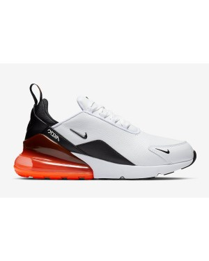 Nike Air Max 270 PRM LEA Leather Blanche Noir Hyper Crimson Homme BQ6171-100