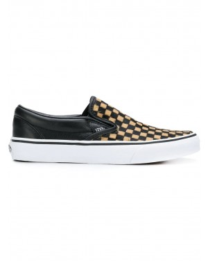 Calf Hair Checkerboard Classic Slip-On Chaussures | Noir | Vans VA38F7U76