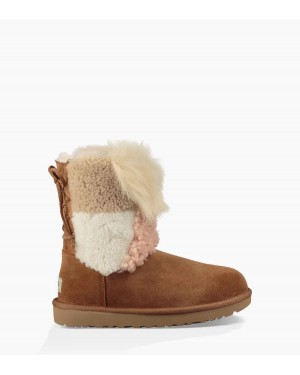 Femme Classic Short Patchwork Fluff Boot Marron 1098071