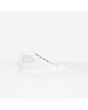 Balenciaga Homme High Sneakers Natural shine Lambskin trainers Blanche 483497WAY409008